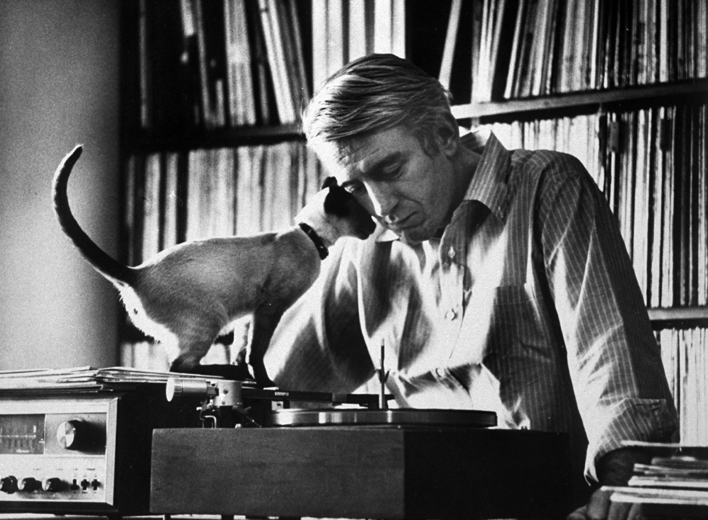 Poet Rod McKuen playing record on stereo set while pet Siamese cat nuzzles his face affectionately, 1967.