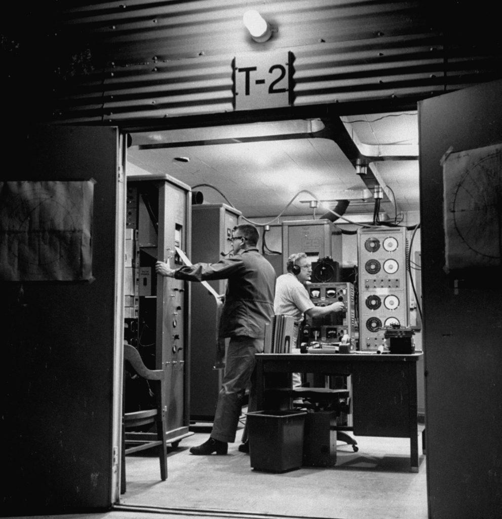 Scientists of the National Bureau of Standards Boulder Laboratory receiving signals from Sputnik I.